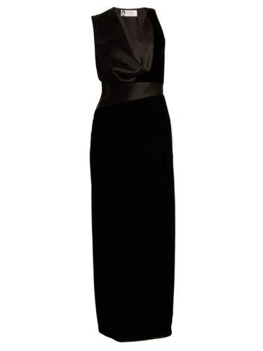 Lanvin - Cowl-Neck Satin-Panelled Velvet Gown