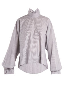 Mm6 By Maison Margiela - Tie-Neck Micro-Checked Cotton Blouse