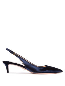 Prada - Point-Toe Slingback Kitten-Heel Velvet Pumps