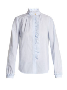Red Valentino - Striped Ruffle-Trimmed Cotton Shirt