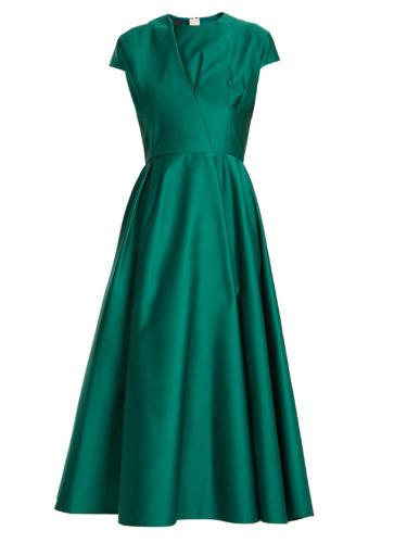 Rochas - Capped-Sleeve Duchess-Satin Dress