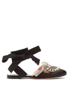 Rochas - Crystal-Embellished Backless Satin Flats