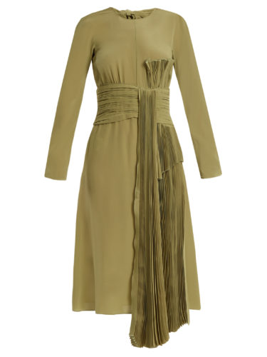 Rochas - Pleated-Drape Silk Crepe De Chine Dress