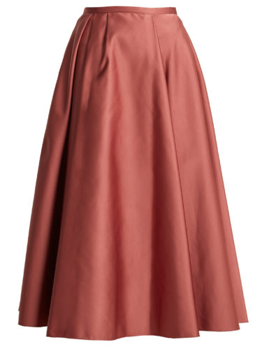 Rochas - Pleated Duchess-Satin Midi Skirt