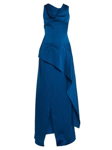 Roland Mouret - Alford Hammered Silk-Satin Cowl-Neck Gown