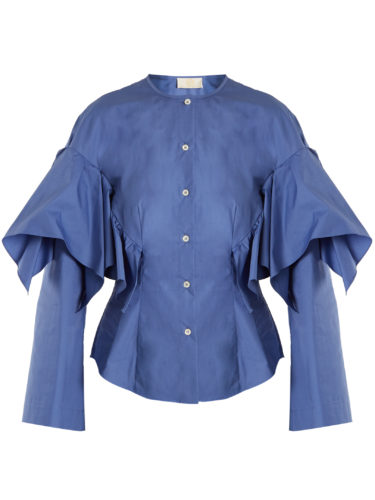 Sara Battaglia - Collarless Ruffled Cotton Shirt