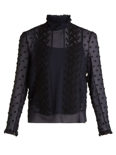 See By Chloé - Embroidered Crinkle-Georgette Blouse