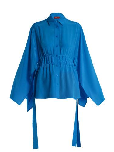 Sies Marjan - Addilyn Slit-Hem Silk Crepe De Chine Blouse