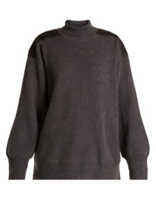 Stella Mccartney - Faux Leather-Trimmed Oversized Wool Sweater