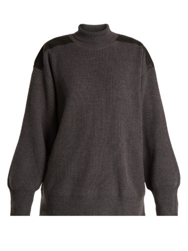Stella Mccartney - Faux Leather-Trimmed Oversized Wool Sweater