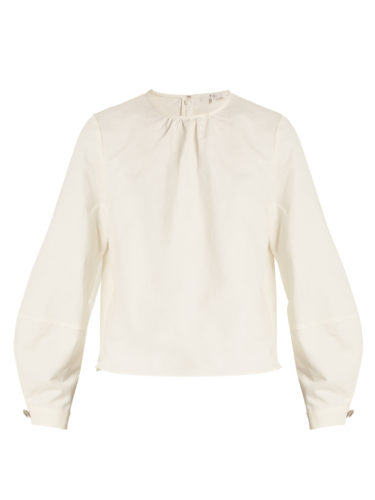 Tibi - Chassis Lantern-Sleeved Cotton And Linen-Blend Top