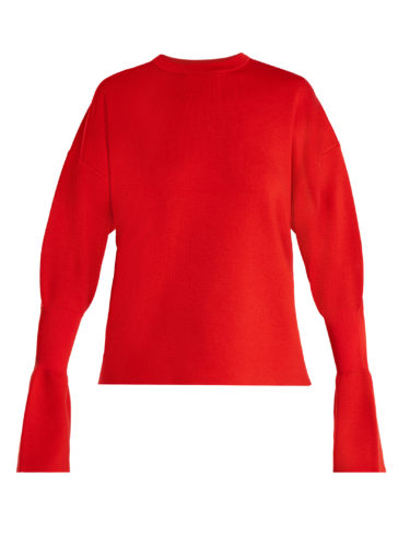 Tibi - Fluted-Cuff Wool Sweater
