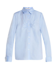 Tibi - Ruched-Front Cotton-Oxford Shirt