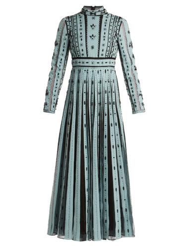 Valentino - Bead-Embellished Pleated Silk Dress