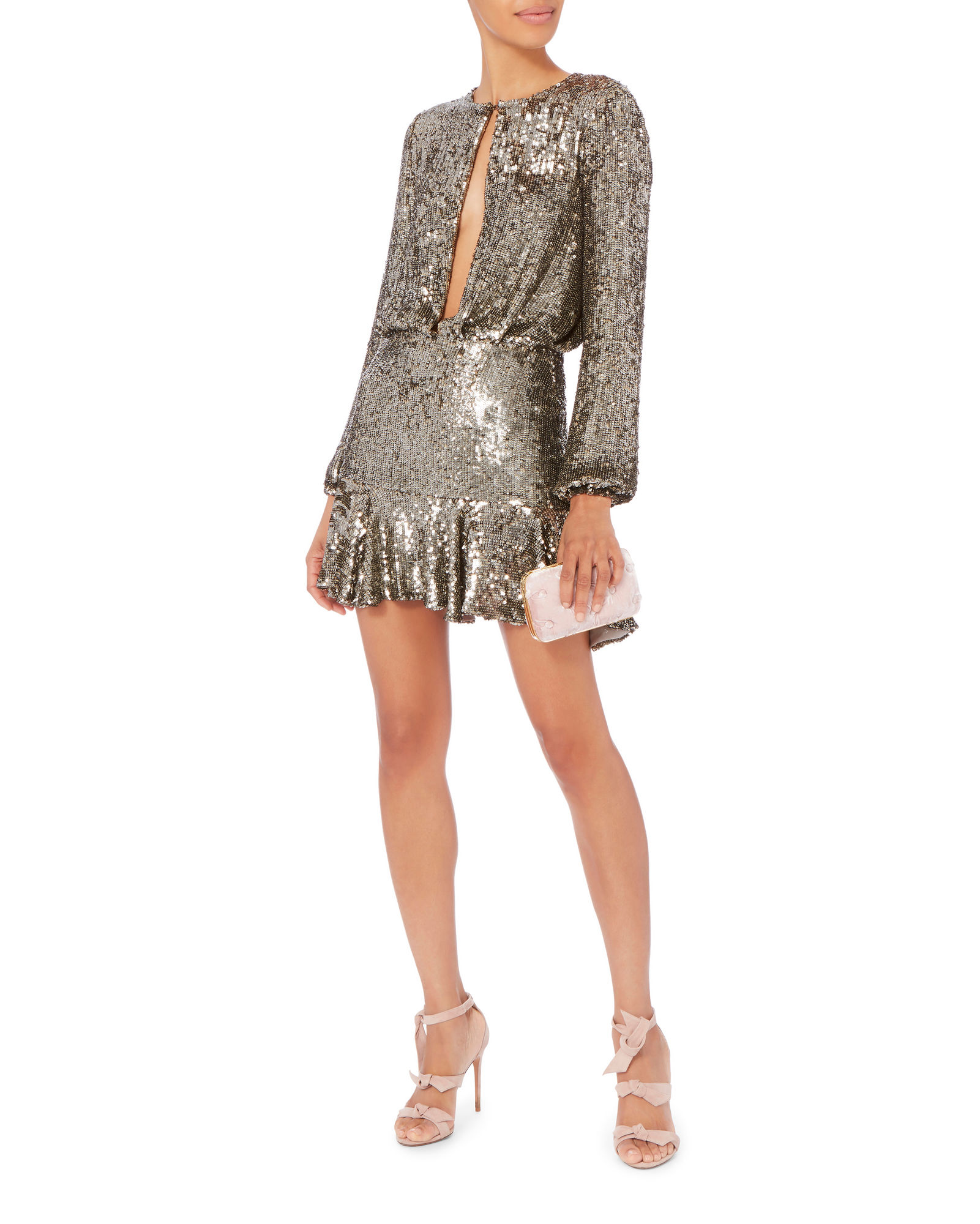 Alexis Tamera Silver Sequin Keyhole Mini Dress Fashion