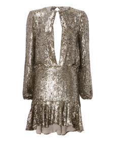 Alexis - Tamera Silver Sequin Keyhole Mini Dress
