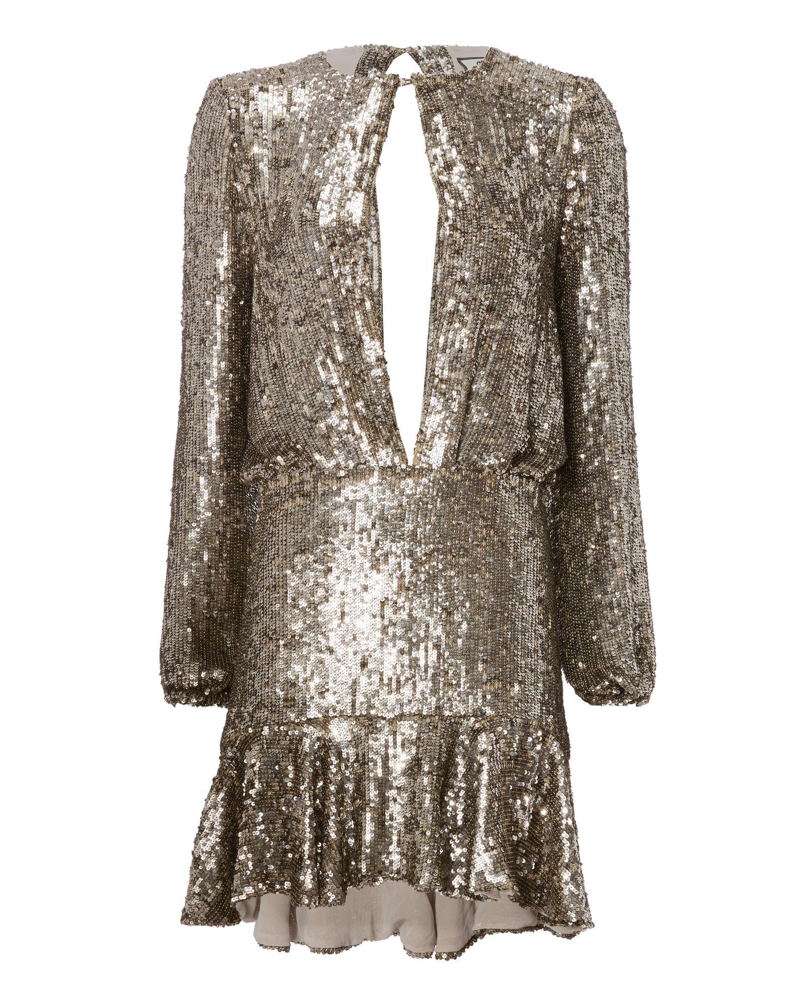 Alexis Tamera Silver Sequin Keyhole Mini Dress Fashion