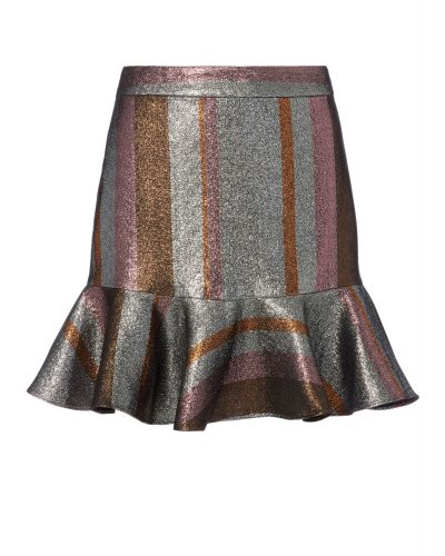 Derek Lam 10 Crosby - Flounce Hem Silver Mini Skirt