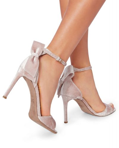 Valentino - Velvet Sandals with Bow - Pink 2