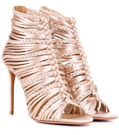 Aquazzura - Goddess 105 Satin Sandals - Pink
