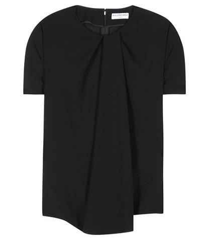 Balenciaga - Pleated Crêpe Top - Black
