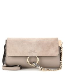 Chloé - Faye Mini Leather And Suede Wallet Bag - Gray