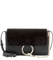 Chloé - Faye Small Leather And Suede Shoulder Bag - Black