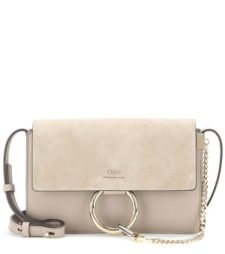 Chloé - Faye Small Leather And Suede Shoulder Bag - Gray