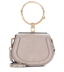 Chloé - Small Nile Leather And Suede Shoulder Bag - Gray