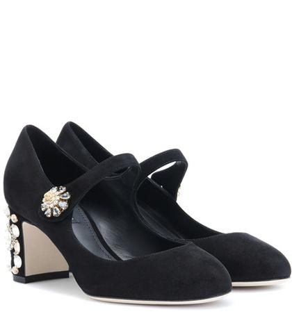 Dolce & Gabbana - Embellished Suede Pumps - Black