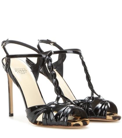 Francesco Russo - Patent Leather Sandals - Black