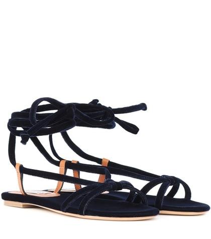 Gabriela Hearst - Reeves Velvet Sandals - Blue