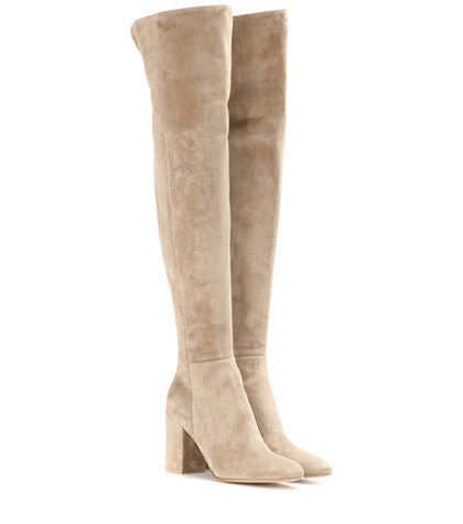 Gianvito Rossi - Rolling 85 Suede Over-The-Knee Boots - Neutrals