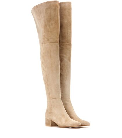 Gianvito Rossi - Rolling Mid Suede Over-The-Knee Boots - Neutrals