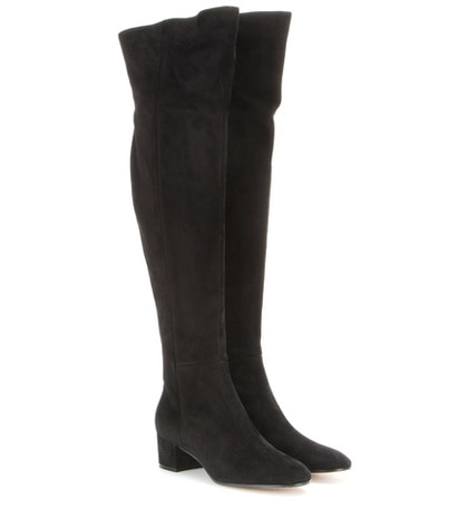 Gianvito Rossi - Suede Over-The-Knee Boots - Black