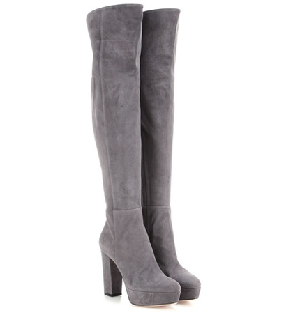 Gianvito Rossi - Temple Suede Over-The-Knee Platform Boots - Gray