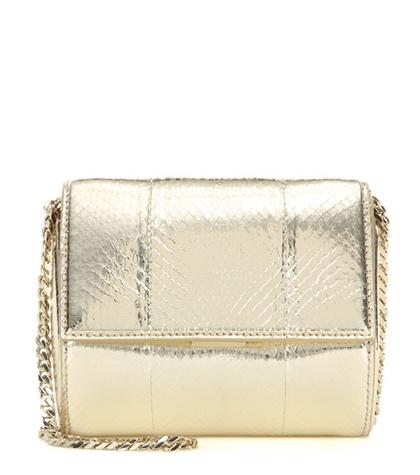 Givenchy - Pandora Box Micro Metallic Snakeskin Shoulder Bag - Gold