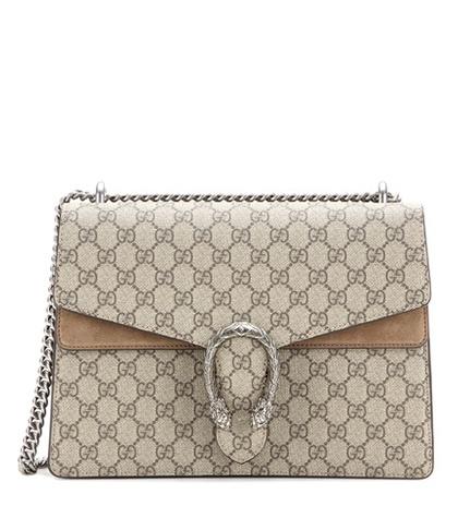 Gucci - Dionysus Gg Supreme Medium Coated Canvas And Suede Shoulder Bag
