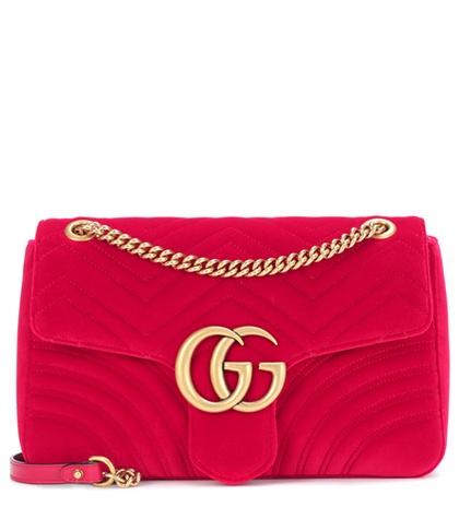 Gucci - Gg Marmont Mini Velvet Shoulder Bag - Red