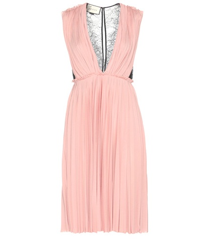 Gucci - Lace-Panelled Crêpe Dress - Pink