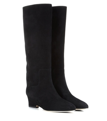 Jimmy Choo - Manson 50 Suede Wedge Boots - Black