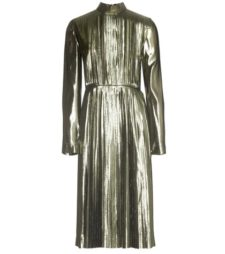 Loewe - Metallic Silk-Blend Pleated Dress - Metallic