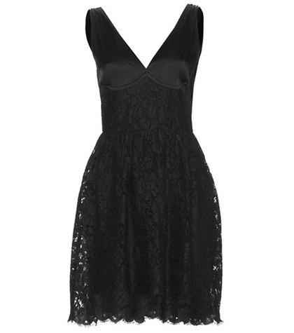 Miu Miu - Sleeveless Satin And Lace Dress - Black