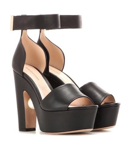 Nicholas Kirkwood - Maya Leather Platform Sandals - Black