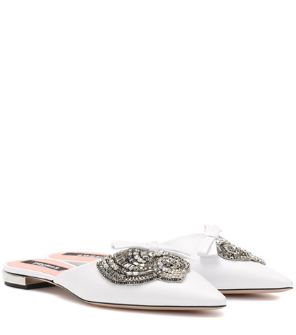 Rochas - Embellished Leather Slippers - White