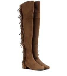 Saint Laurent - Bb 20 Fringed Suede Over-The-Knee Boots - Brown
