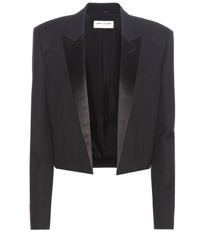 Saint Laurent - Cropped Wool Crêpe Blazer - Black