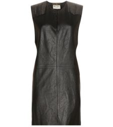 Saint Laurent - Embellished Leather Minidress - Black