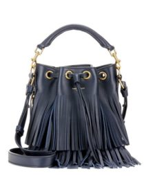 Saint Laurent - Small Bucket Fringed Leather Tote - Blue