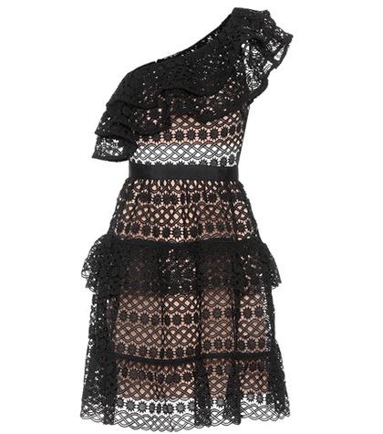 Self-Portrait - Floral Chain Minidress - Black